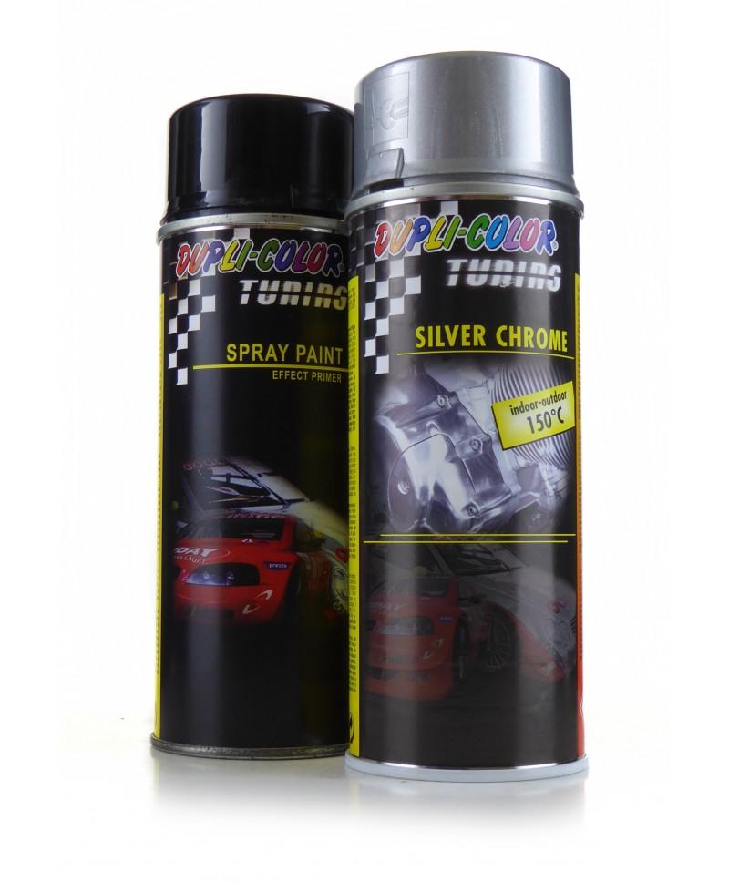 Zestaw Silver Chrome Dupli Color - Lakier do felg z efektem chromu + Podkład - 2x 400ml